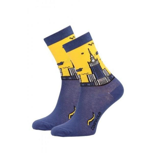 Skarpety żółto-niebieskie z motywem