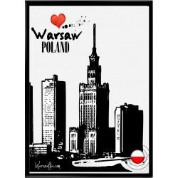 Plakat z panoramą Warszawy...